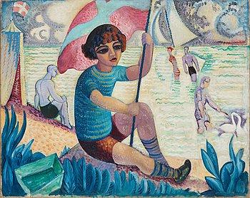 """273. Isaac Grünewald, """"Gosse (Iván) med flagga"""" (Boy (Ivan) with flag)."""