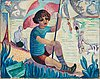 """Isaac grünewald, """"gosse (iván) med flagga"""" (boy (ivan) with flag)"""