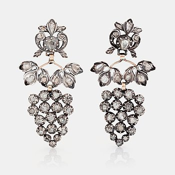 771. A PAIR OF EARRINGS set with rose-cut diamonds.