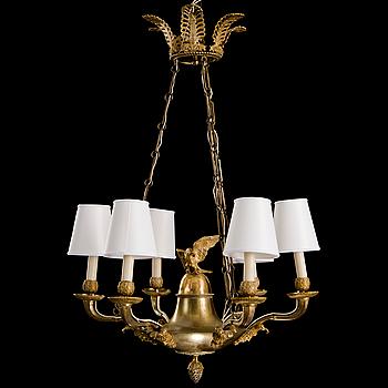 TAKAMPEL, empire,1800-talets början, förgylld brons, för sex ljus.