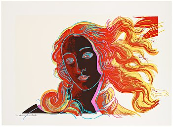 "202. Andy Warhol, ""Venus"", from: ""Details of renaissance paintings (Sandro Botticelli, Birth of Venus, 1482)""."