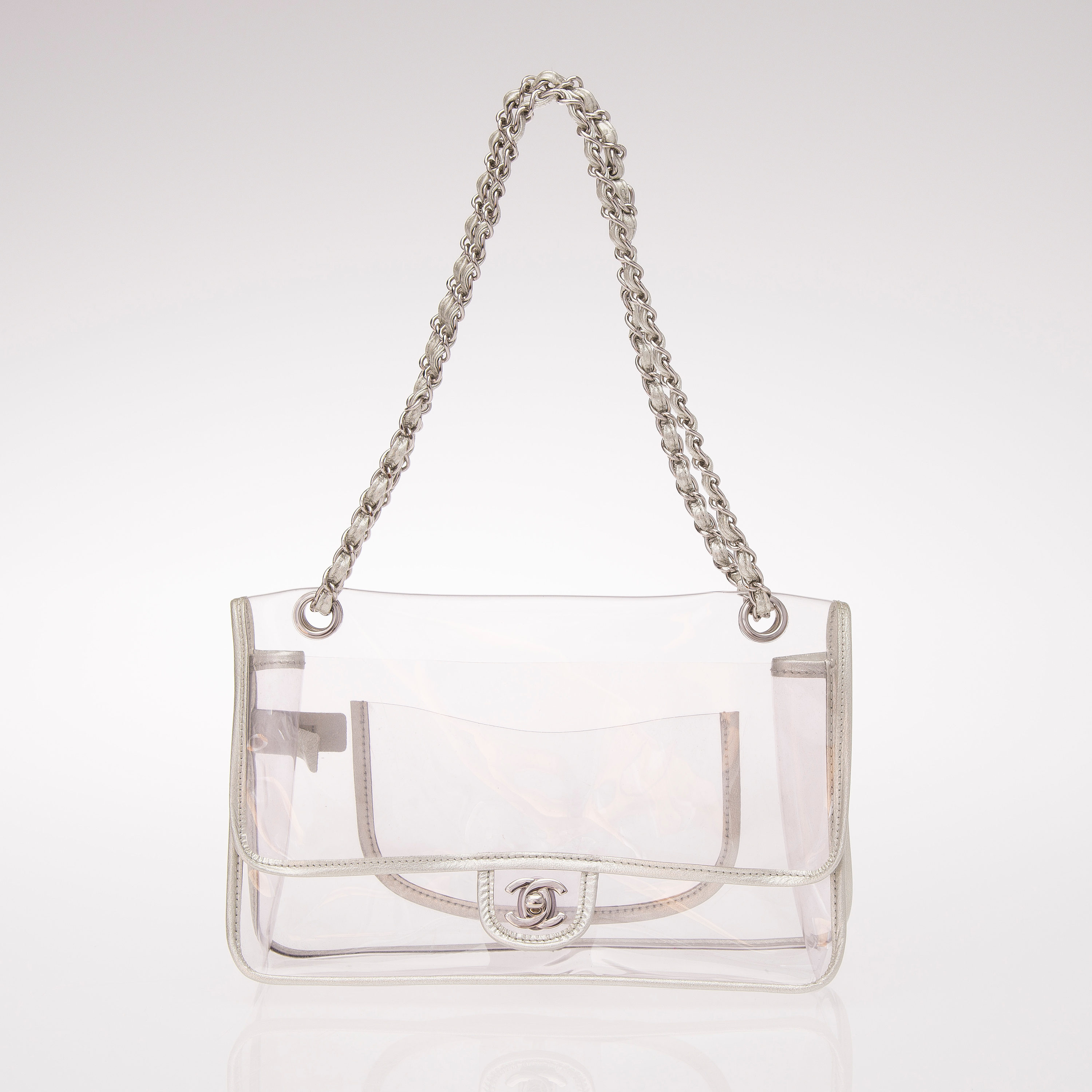 2a985df23f7b Naked Large Classic Flap Bag. Shoulder bag in clear PVC.