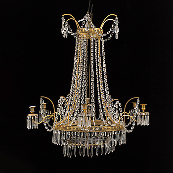 LJUSKRONA, för sex ljus. Louis XVI-stil, 1800-talets andra hälft.