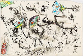 ULF RAHMBERG, ULF RAHMBERG, Mixed media, signed with monogram and dated 1988 verso.