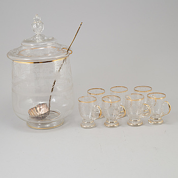 A 19th century glass punch bowl and seven cups.