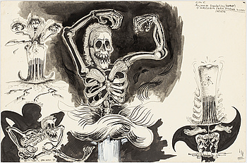 ULF RAHMBERG, Ink wash, signed with monogram and adted -79 verso.