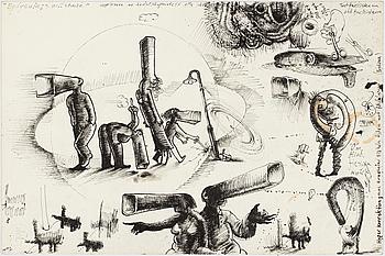 ULF RAHMBERG, Ink wash, signed with monogram.