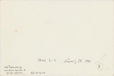 Ulf rahmberg, tuschteckning, signerad med monogram och daterad 1983 a tergo.