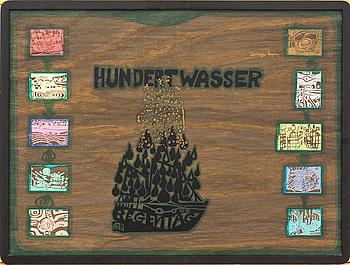 FRIEDENSREICH HUNDERTWASSER,  MAPPOMSLAG, PLYWOOD. SIGNERAD OCH NUMRERAD 2541/3000.