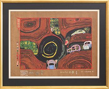 FRIEDENSREICH HUNDERTWASSER, färgserigrafi med metallprägling, tryckt signering och numrerad 2541/3000.