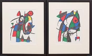 JOAN MIRÓ, 2 st, färglitografi, ur Miró Lithographe II.