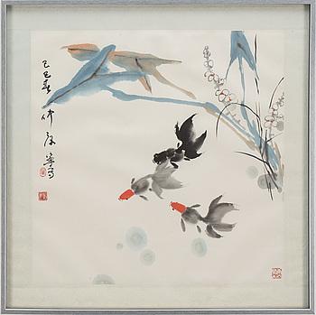 MÅLNING, tusch och färg på papper. Kina, signerad Kang ning (1938-).