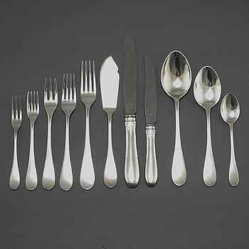 BESTICKSERVIS, silver, 134 delar, W.A Bolin, mestadels omkring 1900-talets mitt.