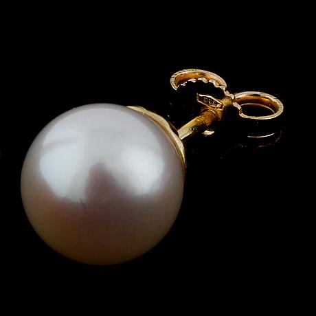 A pair of cultured pearl earrings