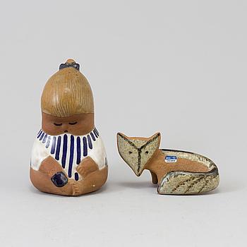 "LISA LARSON, figuriner, 2 st, stengods, Bland annat ""Johanna"", Gustavsberg."