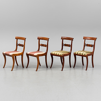 A SET OF FOUR CHAIRS, empire, Stockholm, first half of the 19th century.