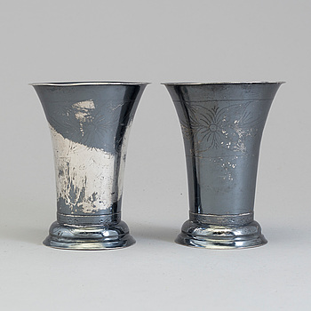 A pair of Swedish 19th century silver beakers, mark of CG Högstedt, Kalmar 1823.