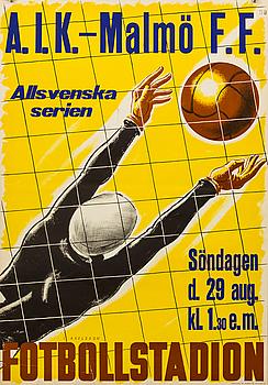 """POSTER, """"A.I.K. - Malmö F.F."""". Centraltryckeriet Stockholm 1937."""