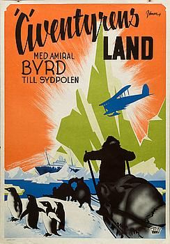 """ERIC ROHMAN, poster, """"Äventyrens land, med amiral Byrd till Sydpolen"""", 1947."""
