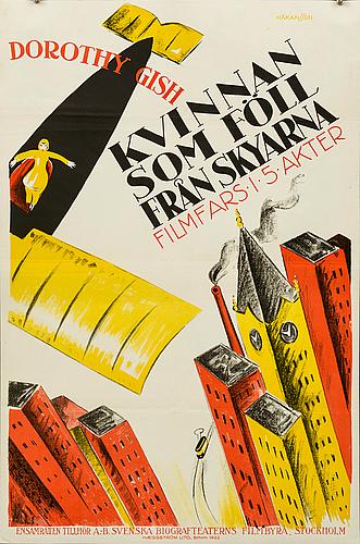 """Poster, """"kvinnan som föll från skyarna (flying pat)"""", 1922"""