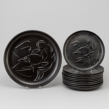 TALLRIKAR samt FAT, 11 st, keramik, Bo Fajans, 20 century.