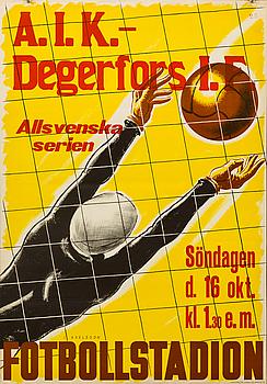 """POSTER, """"A.I.K. - Degerfors I.F."""". 1937."""