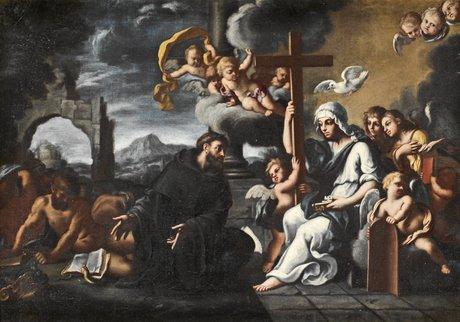 """Giovanni domenico cerrini (""""il cavaliere perugino"""") tillskriven, st fransiscus pekandes mot religionen"""