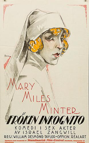"""Eric rohman, poster, """"fröken inkognito"""", 1922."""