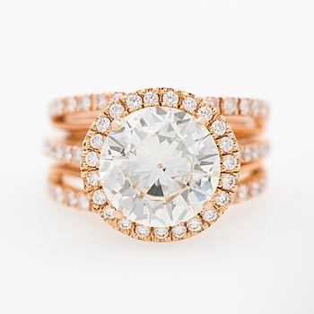 A RING, brilliant cut diamond, 18K rose gold.