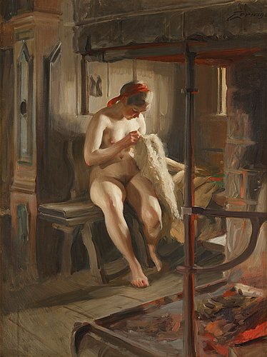 """Anders zorn, """"the flea"""" (dressing for summer)."""