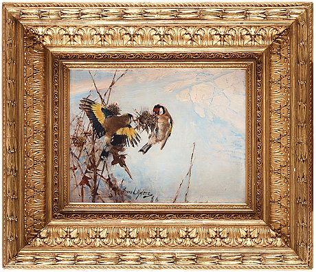 "Bruno liljefors, ""steglitsor"" (goldfinches)."
