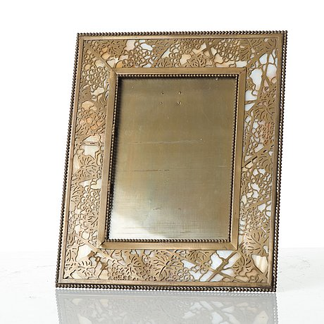 Tiffany Studios Two Metal And Glass Desk Picture Frames New York