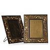 Tiffany studios, two metal and glass desk picture frames, new york, early 20th century, model 918.