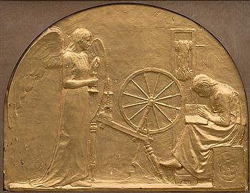 EMIL HALONEN, relief, bronserad gips, signerad och daterad 1897 i godset.