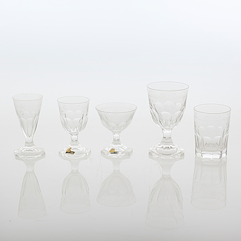 A glass tableware set of 53 pcs by Skruf, first half of the 20th century.