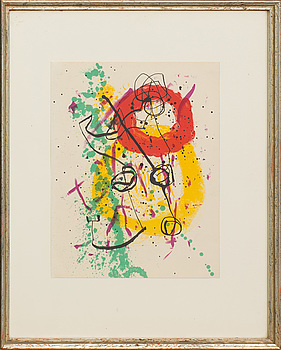JOAN MIRÓ, JOAN MIRÓ, colour lithographe, unsigned, from XX:e siècle no 16 1961.