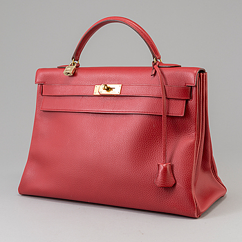 "A red Epson ""Kelly 40"" bag by Hermès 1991."