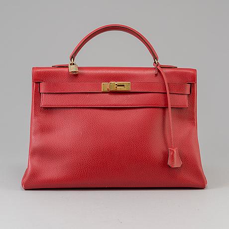 "A red epson ""kelly 40"" bag by hermès 1991"