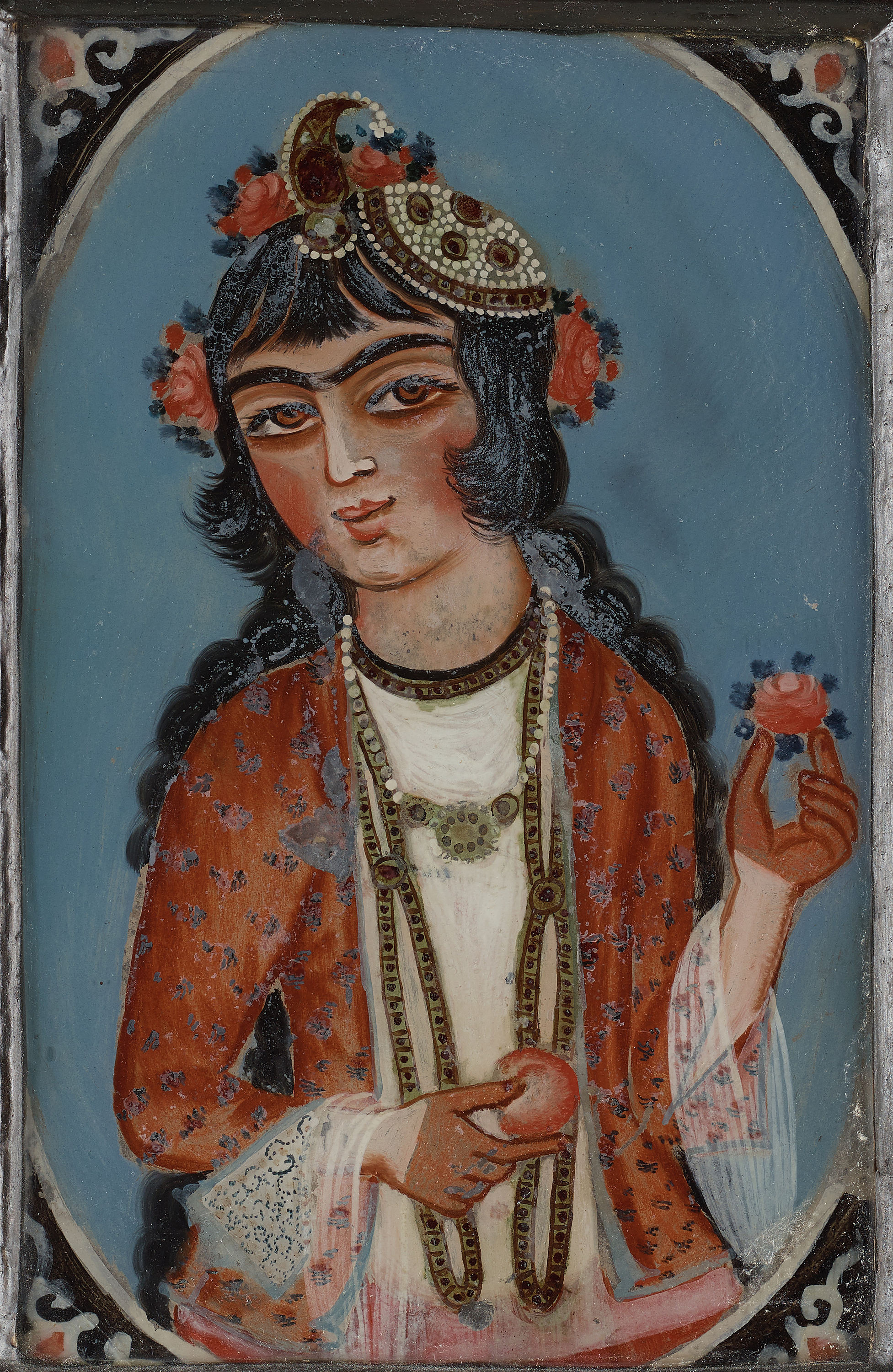 A Persian Glass Painting From The Qajar Dynasty Bukowskis