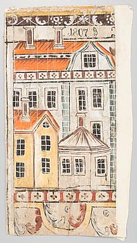 DALMÅLNING, allmoge, Av Jufwas Anders Ersson, Leksand. Daterad 1807. (Del av).