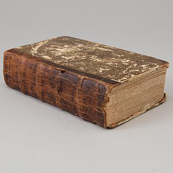 """BOK, """"Beskrifning öfwer the i Öster-Götland befintelige städer..."""" utgiven av Carl Fredric Broocman, Norrköping 1760."""