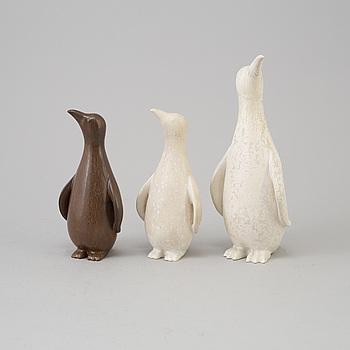 GUNNAR NYLUND, figuriner 3 st, stengods, Rörstrand 1950-tal.