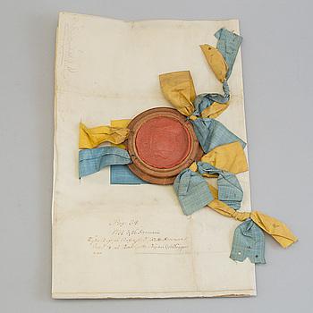 BYTESBREV, med Fredrik I:s namnteckning 1731, för Jacob Bürenskiöld.