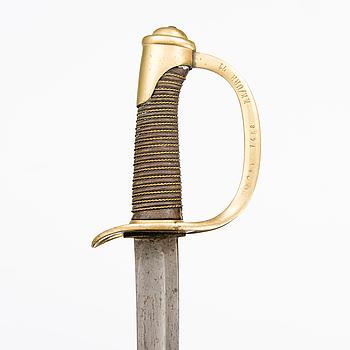 SABEL, Frankrike, modell 1822 för kavalleriet, förkortad för finska dragonernas bruk.