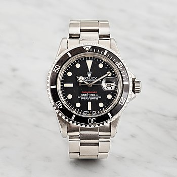 "66. ROLEX, Oyster Perpetual Date, Submariner (660ft=200m, SWISS-T, Mark VI), Chronometer, ""Röd text"", armbandsur, 40 mm."