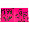 Keith haring, drawing on shafrazi pink cover. signed and dated   82