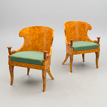 A PAIR OF RUSSIAN ARMCHAIRS, empire style late 20th century.