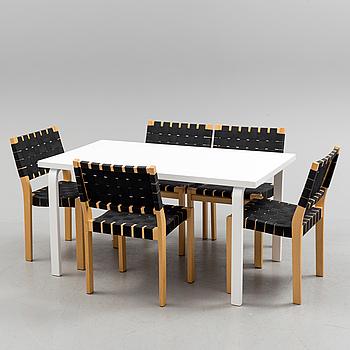 ALVAR AALTO, matgrupp, bord samt 5 stolar, modell 611, Artek.