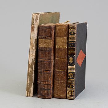 BÖCKER, fyra volymer, 1700-tal och 1800-tal, bl.a Orpheus och Euridice Opera uti tre acter.