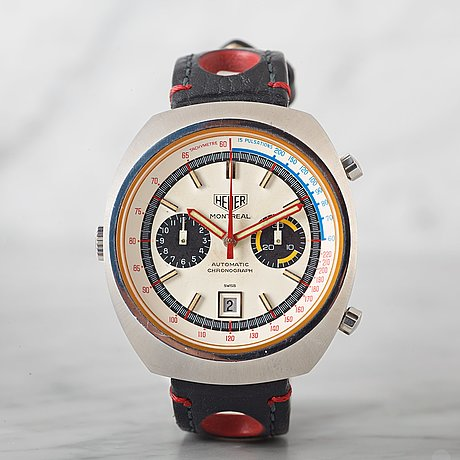 "Heuer, montreal, ""tachymetre, pulsations"", chronograph, wristwatch, 42 x 48 mm."